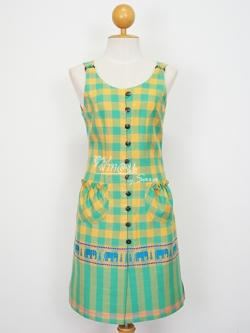 เสื้อตัวยาวผ้าลายช้าง สีเขียว-เหลือง ไซส์ XXL