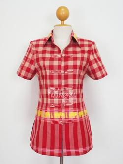 เสื้อผ้าลายช้าง ปกเชิ้ต สีแดง ไซส์ M