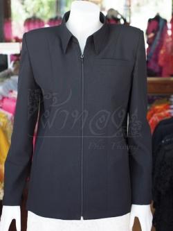 เสื้อสูทซิปผ้าโอซาก้า สีดำ ไซส์ L