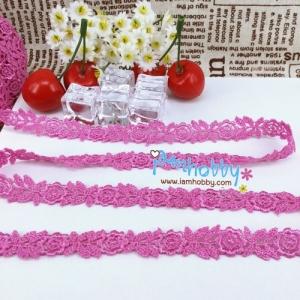 ผ้าลูกไม้ ดอกไม้สีม่วง 1.2 Cm. (1 เมตร)