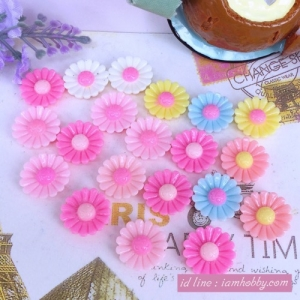 เรซิ่นดอกไม้ คละสี 1.4 cm. (20 ชิ้น)