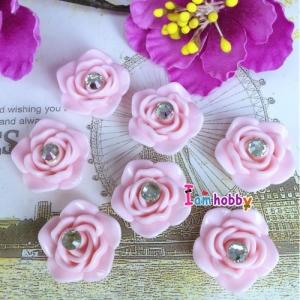 ดอกกุหลาบสีชมพู 20 mm ติดเพชร (10 ชิ้น)