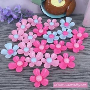 เรซิ่นดอกไม้ คละสี 2 cm. (20 ชิ้น)