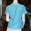 เสื้อผ้าฝ้ายสุโขทัยสีฟ้าแต่งผ้าลายหมากรุก ไม่อัดผ้ากาว ไซส์ S thumbnail 3