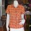 เสื้อผ้าฝ้ายทอลายสก็อตปกเชิ้ต สีแดงเหลือง ไซส์ L thumbnail 1