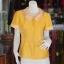 เสื้อผ้าฝ้ายสุโขทัยสีเหลืองแต่งผ้าลายหมากรุก ไม่อัดผ้ากาว ไซส์ M thumbnail 1