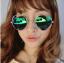 แว่นตากันแดดแฟชั่นเกาหลี กรอบวงกลมเลนส์ปรอทหัวใจสีเขียวฟ้าน้ำทะเล thumbnail 1