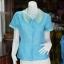 เสื้อผ้าฝ้ายสุโขทัยสีฟ้าแต่งผ้าลายหมากรุก ไม่อัดผ้ากาว ไซส์ S thumbnail 1