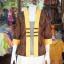 เสื้อคลุมผ้าฝ้ายสุโขทัย แต่งผ้าทอลายมัดหมี่ ไซส์ XL thumbnail 1