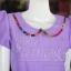 เดรสผ้าฝ้ายสุโขทัยสีม่วงแต่งผ้าฝ้ายบาติก ไซส์ XL thumbnail 3