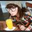 แว่นตาแฟชั่นเกาหลี สีน้ำตาลเข้ม (พร้อมเลนส์) thumbnail 1