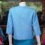 เสื้อผ้าฝ้ายสุโขทัย แต่งเดินไหม สีฟ้า ไซส์ 2XL thumbnail 3