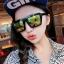 แว่นตากันแดดแฟชั่นเกาหลี กรอบดำ ฟิล์มปรอทสีทองเขียว thumbnail 1