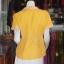 เสื้อผ้าฝ้ายสุโขทัยสีเหลืองแต่งผ้าลายหมากรุก ไม่อัดผ้ากาว ไซส์ M thumbnail 3