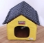 MU0137 บ้านที่นอน สำหรับสัตว์เลี้ยง สีเหลือง หลังคาลายดาว เบาะรองผ้าขนนุ่ม thumbnail 2