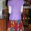 เดรสผ้าฝ้ายสุโขทัยสีม่วงแต่งผ้าฝ้ายบาติก ไซส์ XL thumbnail 5