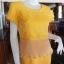 เดรสผ้าฝ้ายสุโขทัยสีเหลือง แต่งผ้าชีฟองอัดพลีท ไซส์ M thumbnail 2