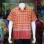 เสื้อเชิ้ตผ้าฝ้ายทอลายช้าง ไม่อัดผ้ากาว สีแดง-เหลือง ไซส์ L thumbnail 1