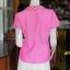 เสื้อผ้าฝ้ายสุโขทัยสีชมพูแต่งผ้ามุกสายรุ้ง ไม่อัดผ้ากาว ไซส์ S thumbnail 3