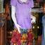เดรสผ้าฝ้ายสุโขทัยสีม่วงแต่งผ้าฝ้ายบาติก ไซส์ XL thumbnail 2