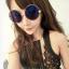 แว่นตากันแดดแฟชั่นเกาหลี กรอบวงกลมเลนส์ปรอทสีน้ำเงินสุดไฮโซ thumbnail 1
