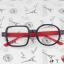 แว่นตาแฟชั่นเกาหลี กรอบสี่เหลี่ยมวงกลมสีดำแดง (ไม่มีเลนส์) thumbnail 1