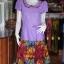เดรสผ้าฝ้ายสุโขทัยสีม่วงแต่งผ้าฝ้ายบาติก ไซส์ XL thumbnail 1
