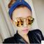 แว่นตากันแดดแฟชั่นเกาหลี กรอบโลหะเลนส์ปรอทสีทอง thumbnail 1