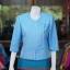 เสื้อผ้าฝ้ายสุโขทัย แต่งเดินไหม สีฟ้า ไซส์ 2XL thumbnail 1