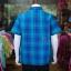 เสื้อเชิ้ตผ้าทอลายสก็อต ไม่อัดผ้ากาว สีน้ำเงิน-เขียว ไซส์ 2XL thumbnail 2