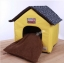MU0137 บ้านที่นอน สำหรับสัตว์เลี้ยง สีเหลือง หลังคาลายดาว เบาะรองผ้าขนนุ่ม thumbnail 3