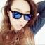 แว่นตากันแดดแฟชั่นเกาหลี กรอบดำสะท้อนแสงน้ำเงินม่วง thumbnail 1