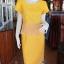 เดรสผ้าฝ้ายสุโขทัยสีเหลือง แต่งผ้าชีฟองอัดพลีท ไซส์ M thumbnail 1