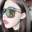 แว่นตากันแดดแฟชั่นเกาหลี กรอบแฟชั่นกันแดดสีดำ เลนส์ปรอทสีทอง thumbnail 1