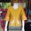 เสื้อผ้าไหมแพรทองแต่งลูกไม้ สีเหลืองทอง ไซส์ 2XL thumbnail 1