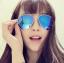 แว่นตากันแดดแฟชั่นเกาหลี กรอบโลหะสีทองเลนส์ปรอทสีน้ำเงิน thumbnail 1