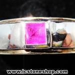 แหวนเงินแท้ 925 พลอยแซฟไฟร์สีชมพู (pink sapphire) (แหวนเบอร์ : 52)