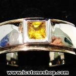 แหวนเงินแท้ 925 พลอยบุษราคัม (Yellow Sapphire)(แหวนเบอร์ : 52)