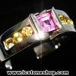 ▽แหวนเงินแท้ 925 พลอยแซฟไฟร์สีชมพู (pink sapphire) (แหวนเบอร์ : 57)