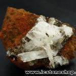 ▽เฮมิมอร์ไฟต์ บนไลโมไนท์ (Hemimorphite on Limonite Matrix) จากเม็กซิโก (41g)