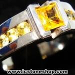 แหวนเงินแท้ 925 พลอยบุษราคัม (Yellow Sapphire) (แหวนเบอร์ : 57)