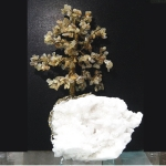 ต้นไม้มงคล หินไหมทอง ฐานควอตซ์สีน้ำนม ใช้เสริมฮวงจุ้ย โต๊ะทำงาน (1.3Kg)