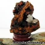 ▽เฮมิมอร์ไฟต์ บนไลโมไนท์ (Hemimorphite on Limonite Matrix) จากเม็กซิโก ตั้งโตีะ ฐานไม้ (56g)