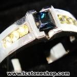 แหวนเงินแท้ 925 พลอยไพลิน (blue sapphire) (แหวนเบอร์ : 57)