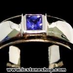 แหวนเงินแท้ 925 พลอยไพลิน (blue sapphire) (แหวนเบอร์ : 52)