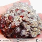 อเมทิสต์-ฮีมาไทต์-แบไรต์ (Amethyst -Hematite-Barite) บราซิล ตั้งโต๊ะ-พร้อมฐานกระจก (113G)
