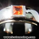 แหวนเงินแท้ 925 พลอยแซฟไฟร์สีส้ม (orange sapphire) (แหวนเบอร์ : 52)