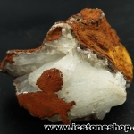 ▽เฮมิมอร์ไฟต์ บนไลโมไนท์ (Hemimorphite on Limonite Matrix) จากเม็กซิโก (96g)