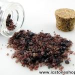 =แร่ทรายคำ Garnet Sand ขนาดเล็กในขวดแก้วจุกก๊อก