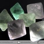 หินฟลูออไรต์ (Fluorite) ธรรมชาติทรงพีระมิคคู่ 6 ชิ้น(17g)